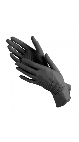 Перчатки нитриловые черные (размеры S,M) - M